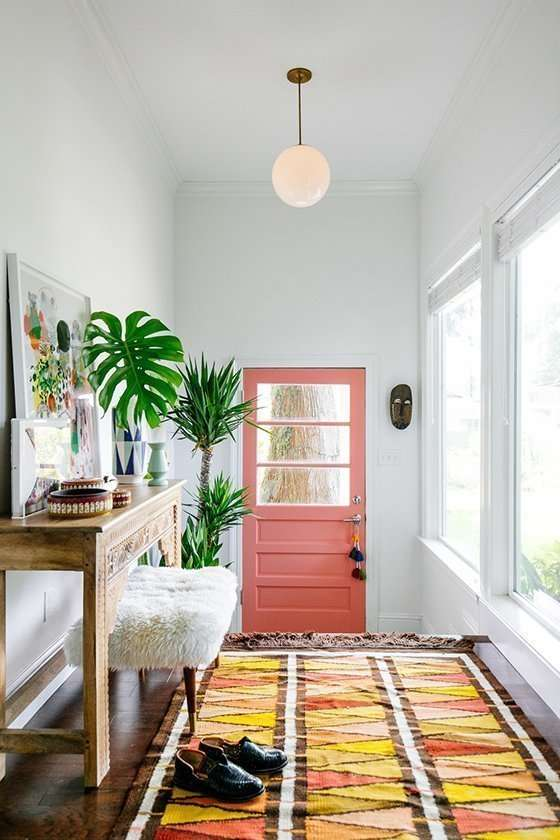 Entry door makeover -- salmon pink door